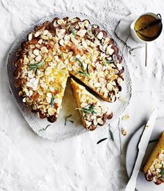 Ricotta-polenta cake with lemon-rosemary syrup recipe :: Gourmet Traveller