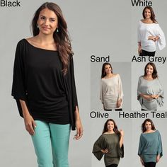 @Overstock - Dolman offers these fancy, sleeve tops for a variety of fashion styles. These tops are designed with an oversized display. They come in vivid colors such as sand, olive, black and white. Wear them with jeans or slacks for casual and semi-formal styles.http://www.overstock.com/Clothing-Shoes/Elan-Womens-Dolman-Sleeve-Oversized-Top/6013711/product.html?CID=214117 $31.49