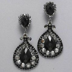 "Amazon.com: Designer Inspired Hematite Drop Black and Silver Rhinestone Clip on Earrings. Size :Size : 1 3/4"" W, 3 1/2"" L.: Jewelry"