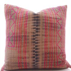 Hmong Pillow Cover Vintage Textile Ethnic Handmade by Boho Pillow 20x20