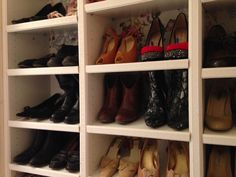 I have this very nice closet in my hallway, I thought it would be just perfect for my shoes. So I had this idea to use 3 BILLY bookcases for my shoe closet