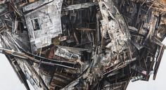 """SETH CLARK: Mass I (detail)  72"""" x 84"""" diptych Collage, Charcoal, Pastel, Acrylic, Graphite on Wood"""