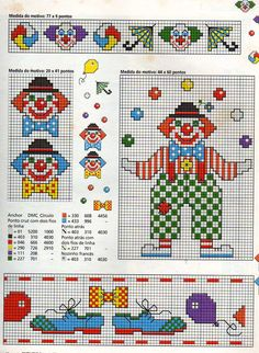 Clown cross stitch pattern