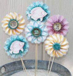 $14.99 Shabby Summer Island Beach Cottage Chic Style Paper Rosette Vintage Style Bottlecap Flower Picks