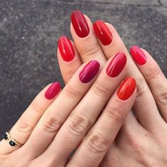different shades of red mani