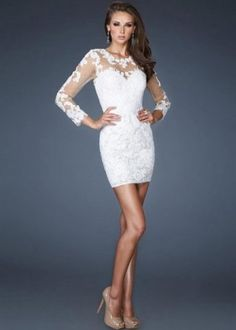 Cheap Short White Lace Rose Tulle Sheer Tight Dresses