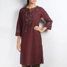 Coffee Brown Khadi Embroidered Phiran Style Tunic www.tadpolestore.com #tunics #winter #clothes #women #fashion #designer #OnlineShopping #TadpoleStore #khadi