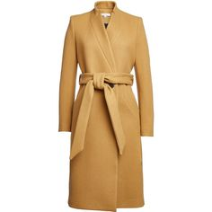 Iro Wool Coat (1 023 AUD) ❤ liked on Polyvore featuring outerwear, coats, camel, beige coat, camel belted coat, heavy wool coat, slim fit wool coat and slim coat