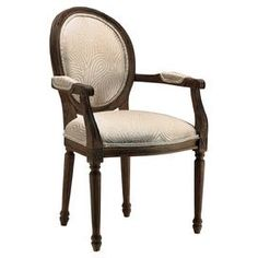 "Perfect for your office or parlor, this timeless wood arm chair features a round back and paisley-inspired upholstery. Product: Chair    Construction Material: Wood and fabric     Color: Warm natural and brown     Features:  25"" Seat height Round back   Double piping edges        Dimensions: 38"" H x 23.5"" W x 25"" D      Assembly: Easy assembly required"