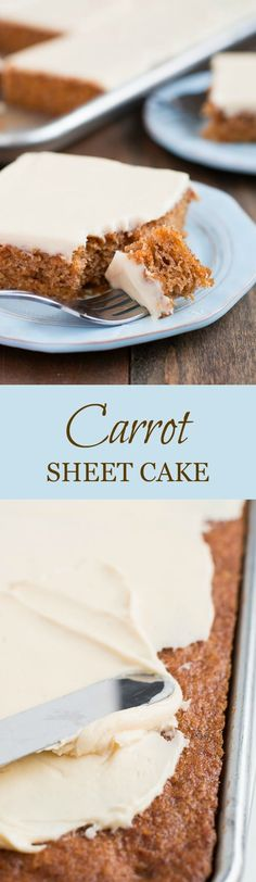 Feed a crowd with this super simple and moist Carrot Sheet Cake that will have your guests talking about how good it was for days.