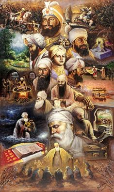 This remarkable artwork captures all the Sikh Gurus and many of the historic events that have occurred throughout Sikhi. Painted by Raman Singh, painter of expression and soul, it brings a beautiful and elegant artistic painting style that capture. Sikhism Beliefs, Sikhism Religion, Guru Granth Sahib Quotes, Sri Guru Granth Sahib, Guru Nanak Ji, Nanak Dev Ji, Holy Quotes, Gurbani Quotes, Hindi Quotes