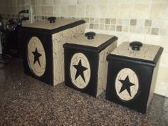 Primitive Crackle Wood Canisters Set of 3 ~ Plastic Bin Liners ~ Country Decor