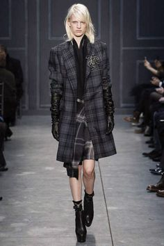 Oversize tartan mixes in grey purple black mixes by Vera Wang. Over the elbow leather gloves and the (here plaid) sheer ankle sock with black heel continues the seasonal sock trend. A little Diane Keaton, a lot Downtown cool.