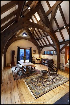 Timber Roof, Timber Frame Homes, Timber House, Timber Frames, Pole Barn House Plans, Pole Barn Homes, Quonset Homes, Roof Truss Design, Viking House