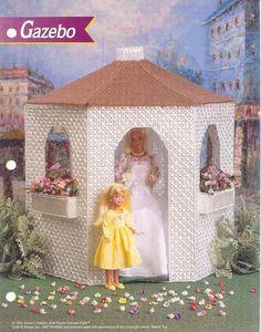 Gazebo Annie's Attic Fashion Doll Plastic Canvas Pattern Club Leaflet for sale online Plastic Canvas Crafts, Plastic Canvas Patterns, Diy Barbie Furniture, Dollhouse Furniture, Barbie Wedding, Barbie Dolls, Barbie Life, Barbie Stuff, Barbie House