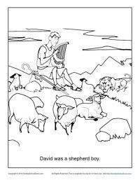 David Was a Shepherd Boy - FREE, printable bible story coloring pages for kids!! www.sundayschoolzone.com