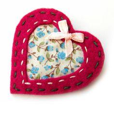 Cut Out Heart Brooch or Bag Charm - Felt - Christmas £4.95