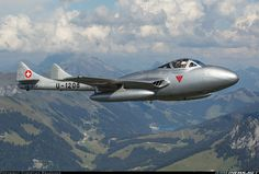 Photo taken at In Flight in Switzerland on September De Havilland Vampire, Swiss Air, Old Planes, Gas Turbine, Flying Boat, Military Aircraft, Air Force, Fighter Jets, Aviation