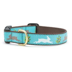 Dogs must have some sort of rabbit-radar, because they all seem to know exactly when there's one in the yard! Our Rabbit Run Collar is perfect for the pooch who just loves bunnies. It's a sweet collar that features gray and white rabbits frolicking against a teal background. This collar is hand sewn with care, right here in the USA.
