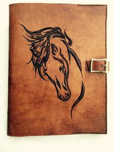 Leather Hand Carved Horse Journal Book Notebook Cover with Buckle Leather Tooling Patterns, Leather Pattern, Leather Carving, Leather Art, Journal Covers, Book Journal, Leather Bible Cover, Horse Tattoo Design, Scroll Saw Patterns Free