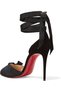 Christian Louboutin - Christeriva 100 Bow-embellished Grosgrain And Suede Sandals - Black - IT37.5
