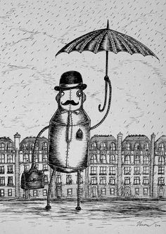 A Gentleman Always Carries an Umbrella A4 robot art print by