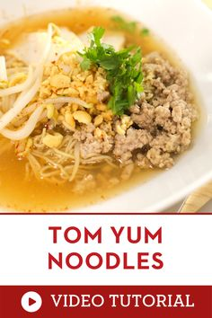 You need to try this hearty Thai soup recipe. Learn how to make it with a step by step video instruction. A classic Thai street food: egg noodles in a hot and sour pork broth, topped with peanuts, ground pork and fried garlic. It's Thailand in a bowl! |how to make tom yum| how to cook tom yum | how to make authentic thai food | easy asian recipe for dinner Tom Yum Noodle Soup, Tom Yum Noodles, Egg Noodles, Thai Noodles, Asian Noodle Recipes, Easy Asian Recipes, Thai Recipes, Asian Noodle Soups, Healthy Recipes