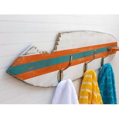 Surfboard Towel Hook Shark Bite Wooden Beach House Entryway Hook