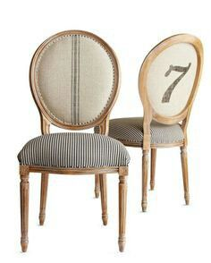 Grain sack and ticking french chairs