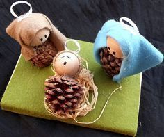 Very nice ideas for a crib that is easy to make and … – Happy Christmas Country Christmas Crafts, Christmas Arts And Crafts, Christmas Projects, Christmas Diy, Christmas Ornaments, Holiday, Jesus Crafts, Clay Pot Crafts, Pine Cone Crafts