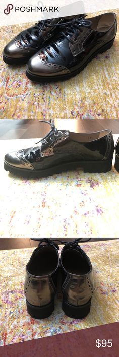 Patent leather oxfords with rubber sole Handmade in Italy, originally bought from Nordstrom's. Loved the look but a little too big on me. Black patent leather with chrome/brass accents. Rubber sole for added comfort. Worn once, like new!! Anyi Lu Shoes