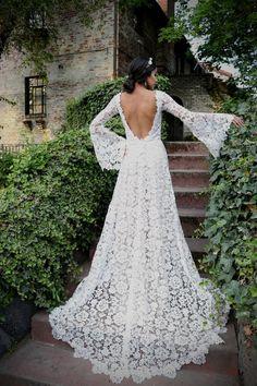 Bohemian Beach Wedding Dress, White Lace Wedding Dress, Lace Mermaid Wedding Dress, Bohemian Bride, Sexy Wedding Dresses, Bohemian Weddings, Dress Beach, Spanish Wedding Dresses, Simple Wedding Dress Sleeves