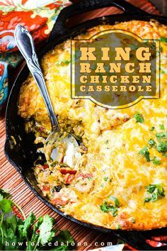 This King Ranch Chicken Casserole is a Southern Texas staple dish. Exploding with flavor and always a hug crowd pleaser. King Ranch Chicken Casserole, Iron Skillet Recipes, Roasted Chicken Breast, Chicken With Olives, One Pot Meals, Kid Meals, Rotisserie Chicken, Food Dishes, Main Dishes