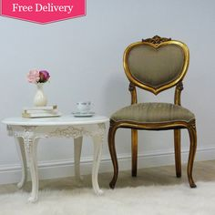 Versailles Gold Heart Chair and Chateau White Side table, beautiful French styling !