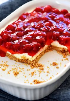 Cherry Delight is an easy dessert recipe with a graham cracker crust, a cheesecake center and topped off with delicious cherry pie filling! Cherry Delight Dessert, Cherry Desserts, No Bake Desserts, Easy Desserts, Delicious Desserts, Cherry Recipes, Cherry Delight Recipe With Dream Whip, Cherry Yum Yum Recipe, Baking Desserts