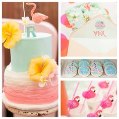 Planning a party? Look at this pink flamingo tropical themed birthday party on Kara's Party Ideas!