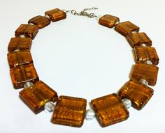 Square Murano Glass Necklace With Adjustable hook with White Murano Beads Venice Italy. $69.00, via Etsy.