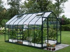 Vitavia Saturn Green Greenhouse with Horticultural Glazing and curved eaves. Buy wide Saturn Greenhouse with free autovent and Delivery. Tunnel Greenhouse, Window Greenhouse, Lean To Greenhouse, Backyard Greenhouse, Greenhouse Attached To House, Diy Greenhouse Plans, Homemade Greenhouse, Plataform Bed, Gardens