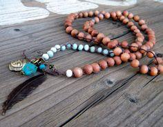 Rosewood Amazonite Beaded Amulet Yoga jewelry by DeetabyDesign