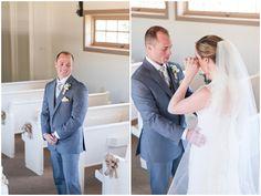 Tearful First Look in Little White Chapel wedding venue near Austin, Texas on 300-acre ranch