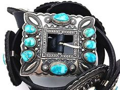 Darryl-Becenti-Old-Kingman-Turquoise-Sterling-Silver-Concho-Belt