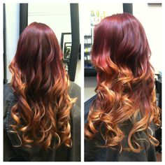 Red/violet to red to warm blonde ombré by Shauna Powers at Dukes and Dolls Salon in Petaluma, CA