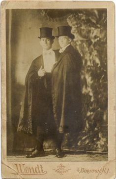 """ca. 1880-90's, [cabinet card, portrait of """"Siamese twins"""", Adolph and Rudolph, wearing capes and top hats], Frank Wednt  via the Syracuse University Library, Ronald G. Becker Collection of Charles Eisenmann Photographs"""