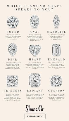 Which diamond shape speaks to you? Shane Co. proudly carries nine unique diamond. Which diamond shape speaks to you? Shane Co. proudly carries nine unique diamond shapes, all hand-p Engagement Ring Shapes, Dream Engagement Rings, Antique Engagement Rings, Engagement Ring Settings, Wedding Engagement, Engagement Ring Guide, Engagement Rings Princess, Antique Rings, Western Engagement Rings
