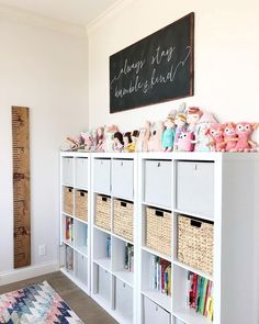 """Finished this wall in the homeschool / craft room and LOVE it! The large chalk … Finished this wall in the homeschool / craft room and LOVE it! The large chalk board """"always stay humble and kind"""" sign is from… Playroom Organization, Playroom Decor, Playroom Ideas, Organized Playroom, Playroom Design, Organizing Toys, Organization Ideas, Bonus Room Playroom, Playroom Paint Colors"""