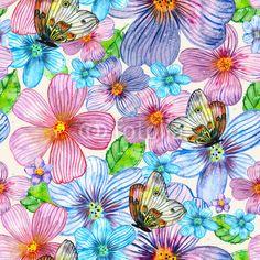 Stampa su tela Floral seamless texture of watercolor. #stampa su #tela