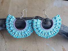 Micromacrame earrings fan shape on medium hoop, blue/turquoise with beads