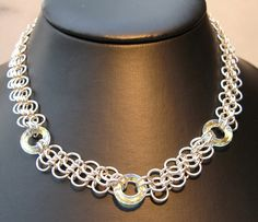 Swarovski ring necklace by Redcrow at Corvus Chainmaille, via Flickr