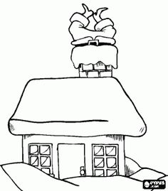 santa claus coming down the chimney inside a mountain cottage coloring page bjl mountain cottage