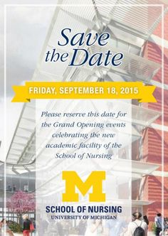 Save the Date! Sept. 18 is the grand opening for the new School of Nursing building.